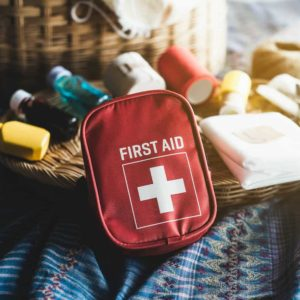 getting together items for a small first aid kit